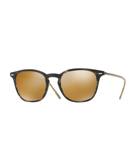 Heaton Square Acetate Sunglasses, Blue Cocobolo/Amber Goldtone