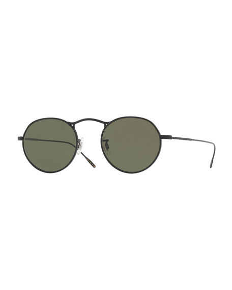 Oliver Peoples M-4 30th Anniversary Round Sunglasses, Black
