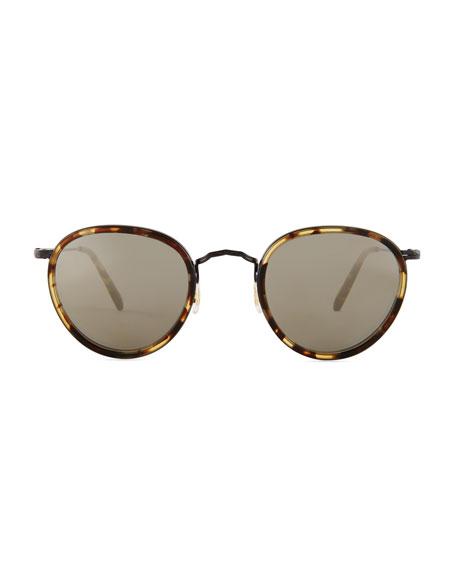 MP-2 Round Metal Sunglasses, MBK/Hickory Tortoise/Graphite Gold