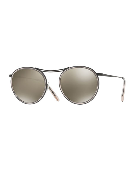 Oliver Peoples MP-3 30th Anniversary Round Sunglasses, Dune/Gray