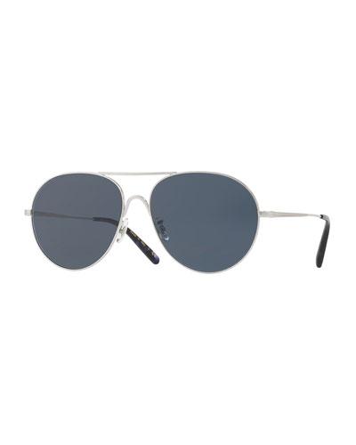 Rockmore Metal Oversized Pilot Sunglasses, Brushed Silver/Blue