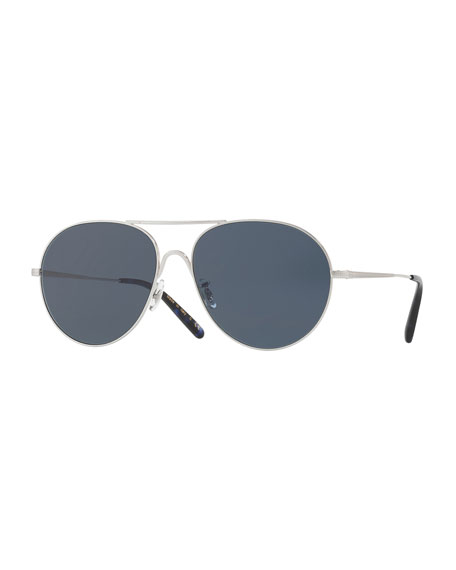 Oliver Peoples Rockmore Metal Oversized Pilot Sunglasses, Brushed