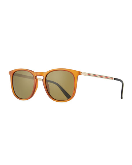 Gucci Men's Square Optyl Web Sunglasses, Yellow
