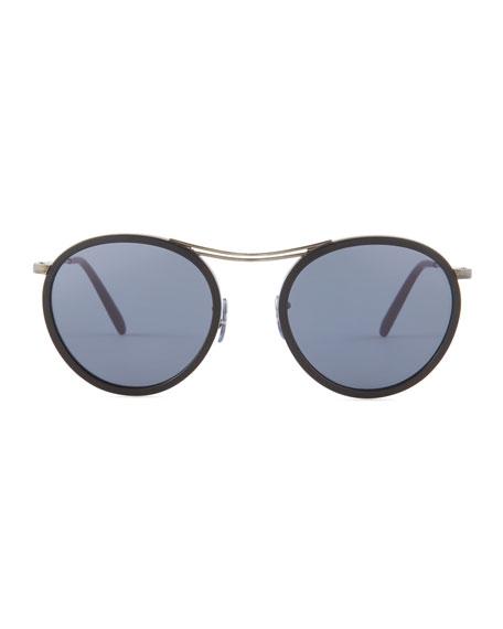 MP-3 30th Anniversary Round Sunglasses, Black/Blue