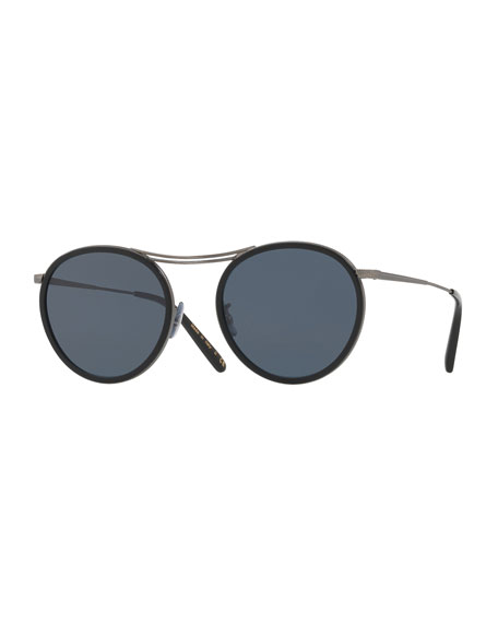 Oliver Peoples MP-3 30th Anniversary Round Sunglasses, Black/Blue