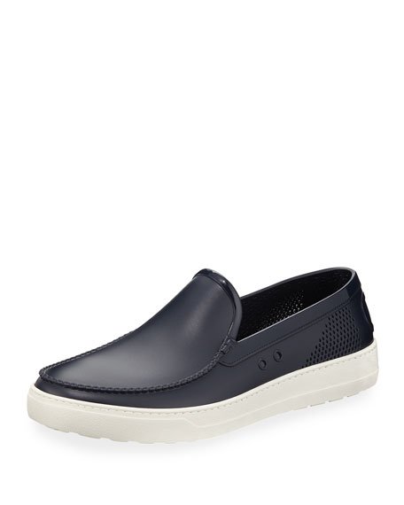 Salvatore Ferragamo Men's Perforated Grommet Boat Shoe