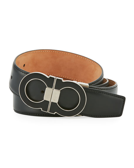Men's Leather Double Gancini-Buckle Belt, Black