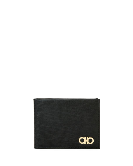 Men's Revival Gancini Bi-Fold Leather Wallet with Window, Black
