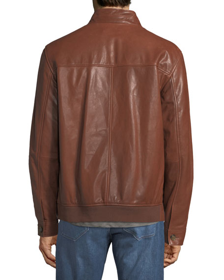 Classic Leather Bomber Jacket