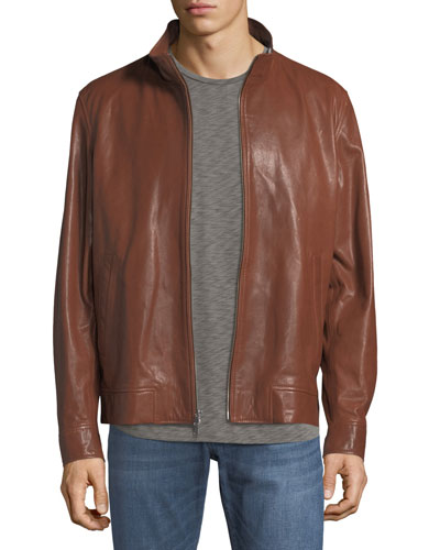Classic Leather Bomber Jacket