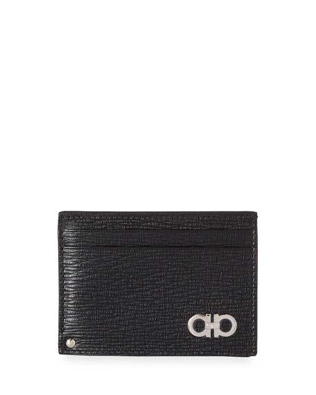 Revival Gancini Leather Card Case with Flip-Out ID Window, Black/Red