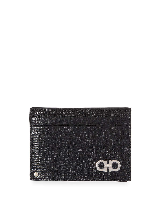 Salvatore FerragamoMen s Revival Gancini Leather Card Case with Flip-Out ID  Window, Black Red e26e79e98e