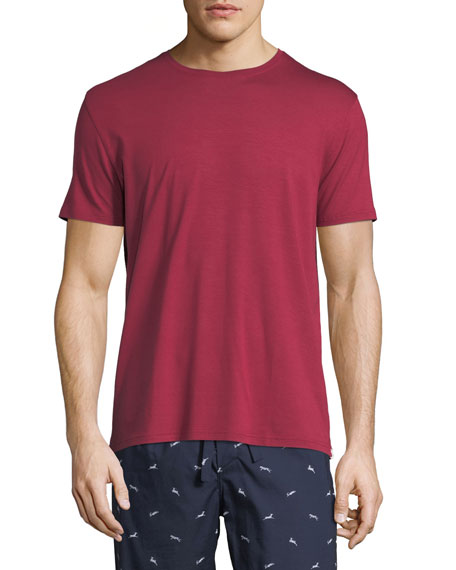 Derek Rose Basel 3 Crewneck Lounge T-Shirt, Red