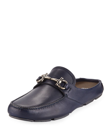 Salvatore Ferragamo Leather Gancini-Bit Mule Slide, Navy