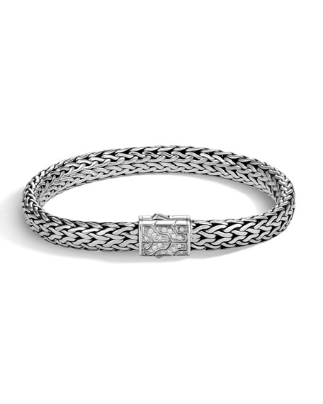 John Hardy Men's Classic Chain Silver Diamond Pave Flat Chain Bracelet - Medium
