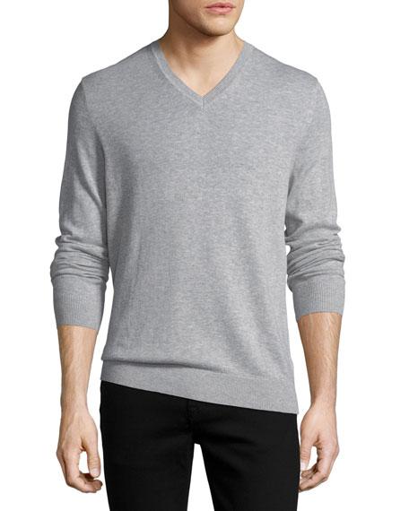 Randolf Cashmere-Cotton Sweater, Gray