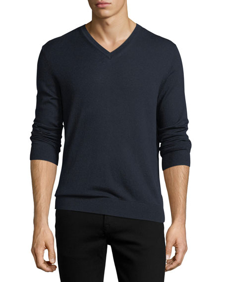 Randolf Cashmere-Cotton Sweater, Navy