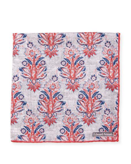 Foulard Paisley Silk Pocket Square, Red