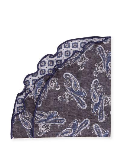 Reversible Paisley & Medallion Silk Pocket Circle, Charcoal