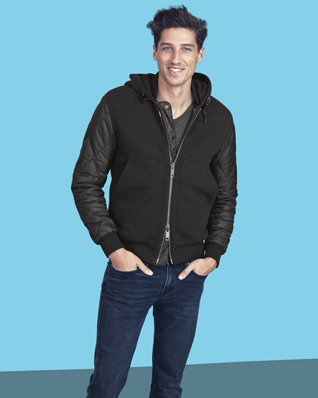 Reversible Demford Quilted Sleeve Hoodie by Burberry