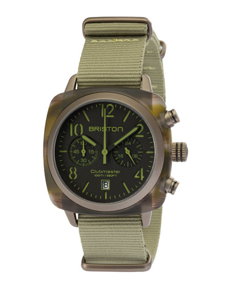 Briston Clubmaster Classic Chronograph Watch, Brown/Green