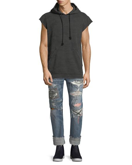 Blake Cropped & Cuffed Slim-Straight Jeans, Light Blue