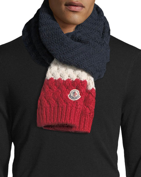 Moncler Tricolor Knit Wool-Blend Scarf