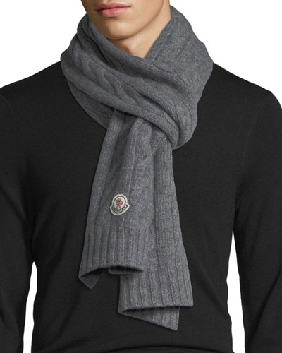 Solid Cable-Knit Wool Scarf