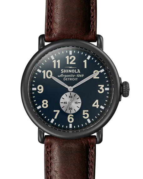 Men's Runwell 47mm Watch with Brown Leather Strap