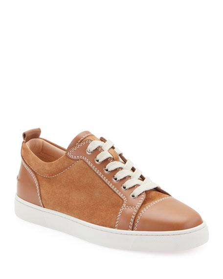 Christian Louboutin Men's Louis Junio Suede Low-Top Sneakers