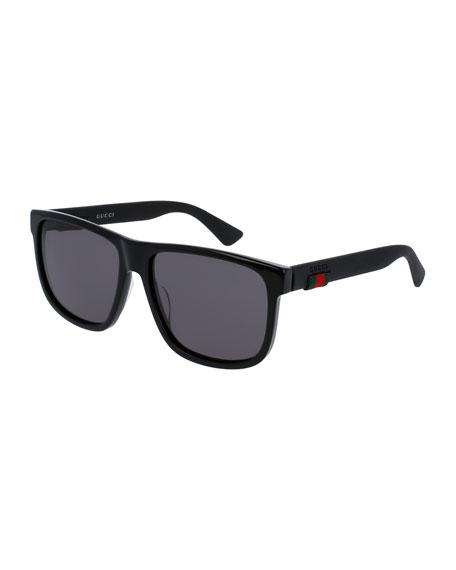 Gucci Square Acetate Sunglasses, Black