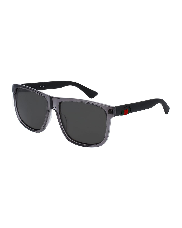 b9b5721d7c70 Gucci Polarized Square Acetate Sunglasses, Gray | Neiman Marcus