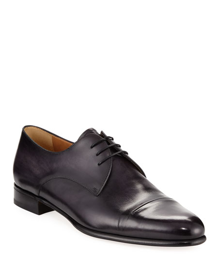 Gaspard Slash-Toe Leather Shoe, Black