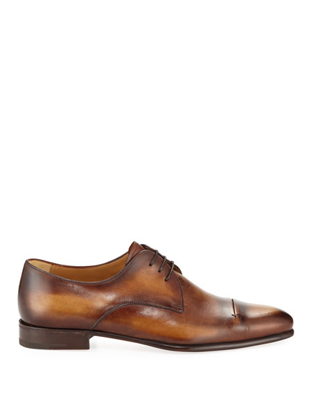 Gaspard Slash-Toe Leather Shoe, Brown