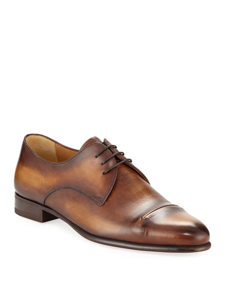 Berluti Gaspard Slash-Toe Leather Shoe, Brown