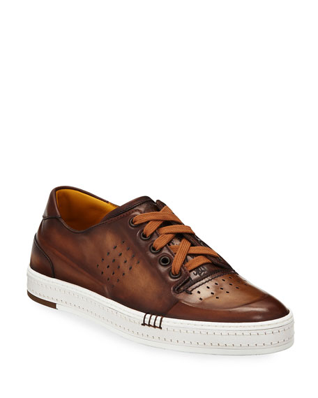 Men's Playtime Perforated Leather Sneakers, Tobacco