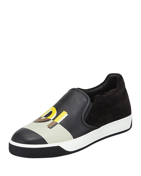 Fendi Vocabulary Men's Leather Slip-On Skate Sneaker and