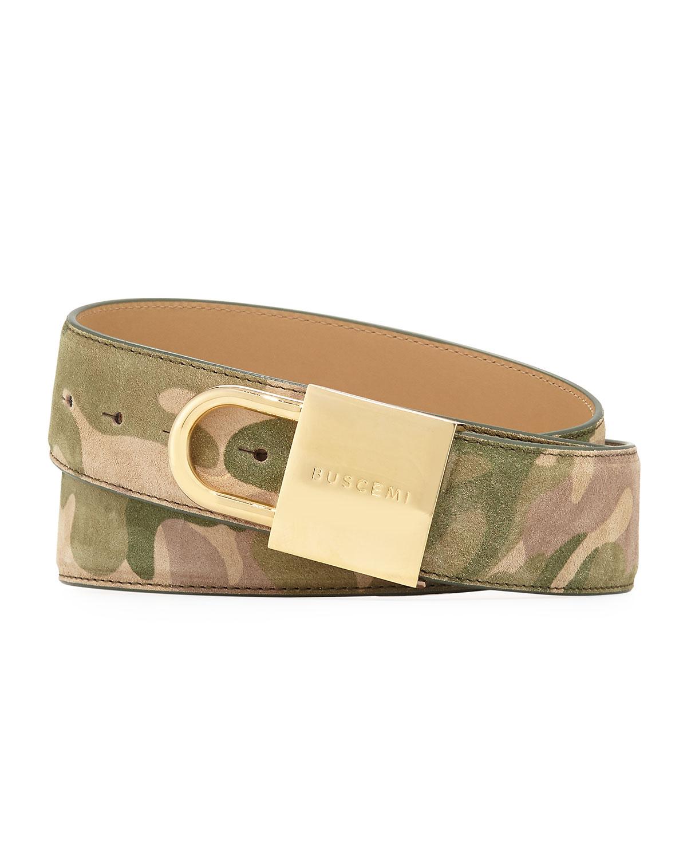 027cd81802551 Buscemi Camouflage-Print Lock-Buckle Leather Belt | Neiman Marcus