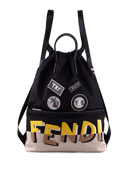 Fendi Vocabulary Monster Face Nylon & Leather Tote