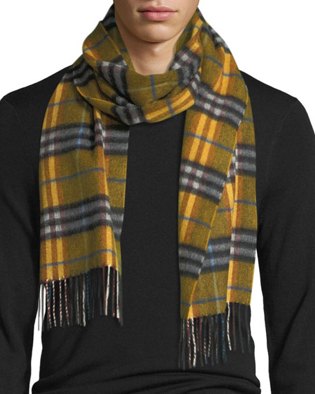 Burberry Castleford Check Cashmere Scarf, Yellow