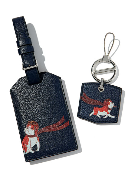 Boston Bulldog Leather Luggage Tag