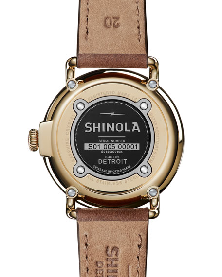 Men's Runwell Leather Watch, Brown/Gold