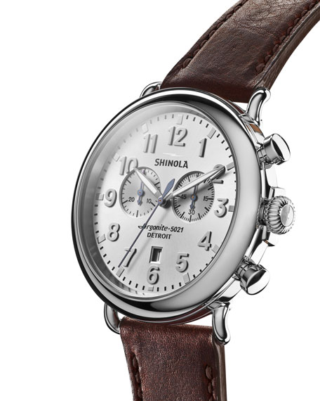 Men's Runwell Leather Watch, Brown/Silver