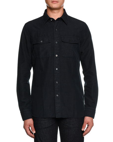 Image 1 of 2: Military Twill Sport Shirt