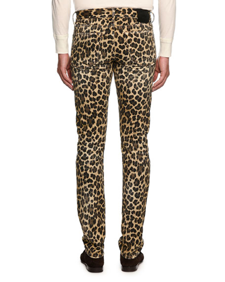 Leopard-Print Slim-Fit Denim Jeans