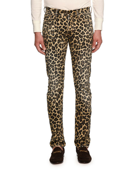 TOM FORD Leopard-Print Slim-Fit Denim Jeans