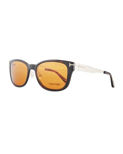 Soft Square Plastic/Metal Glasses w/ Clip-On Sun Lenses