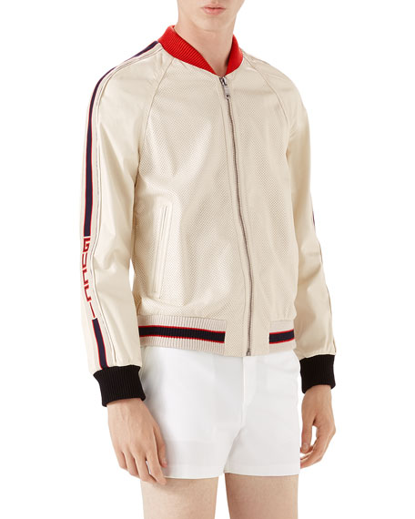 Gucci Perforated Leather Bomber Jacket