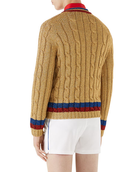 Metallic Cable-Knit V-Neck Sweater