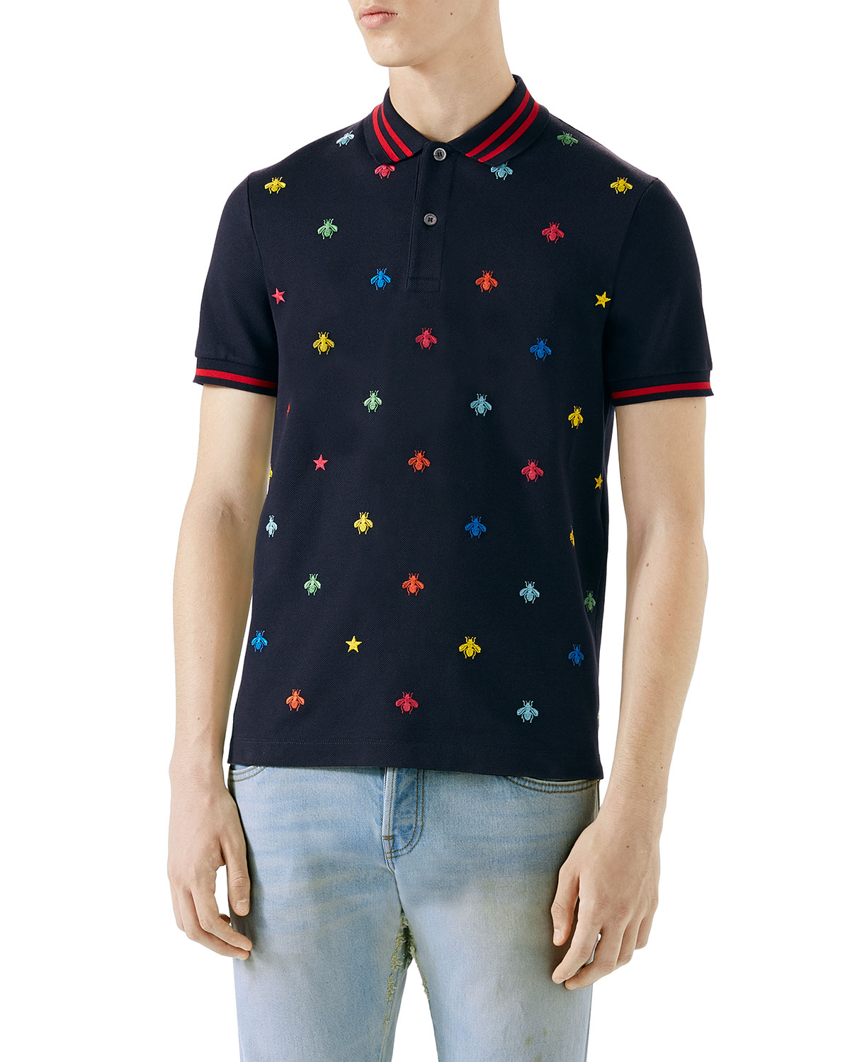 f5006d98 Gucci Embroidered Polo Shirt | Neiman Marcus